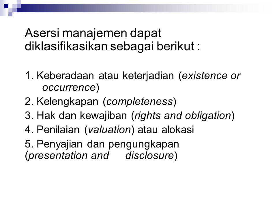 Asersi manajemen dapat diklasifikasikan sebagai berikut : 1. Keberadaan atau keterjadian (existence or occurrence) 2. Kelengkapan (completeness) 3. Ha