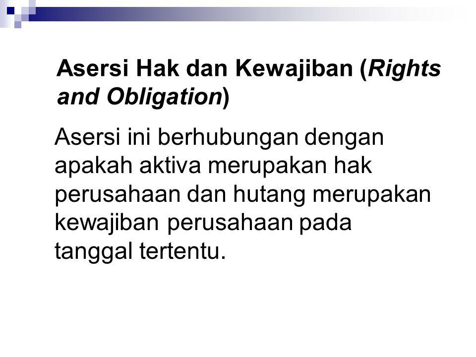 Asersi Hak dan Kewajiban (Rights and Obligation) Asersi ini berhubungan dengan apakah aktiva merupakan hak perusahaan dan hutang merupakan kewajiban p