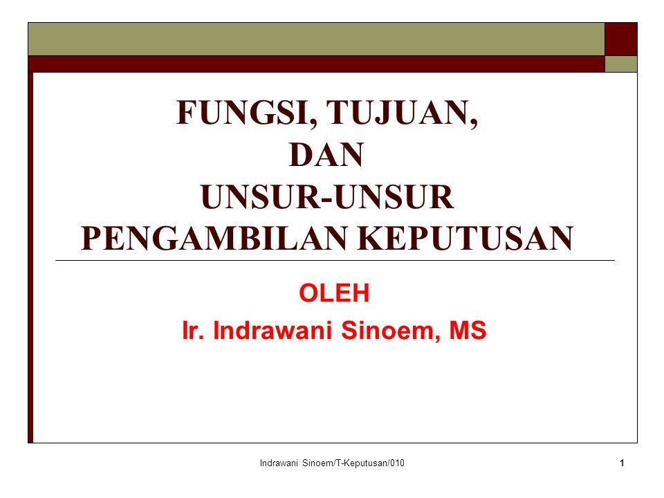 Indrawani Sinoem/T-Keputusan/0101 FUNGSI, TUJUAN, DAN UNSUR-UNSUR PENGAMBILAN KEPUTUSAN OLEH Ir.