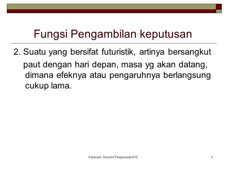 Indrawani Sinoem/T-Keputusan/0103 Fungsi Pengambilan keputusan 2.