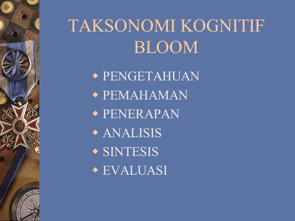 JENIS TAKSONOMI  KOGNITIF BLOOM, GAGNE, dan MERILL  PSIKOMOTOR  AFEKTIF KRATHWOHL, dkk, dan MARTIN – BRIGGS.