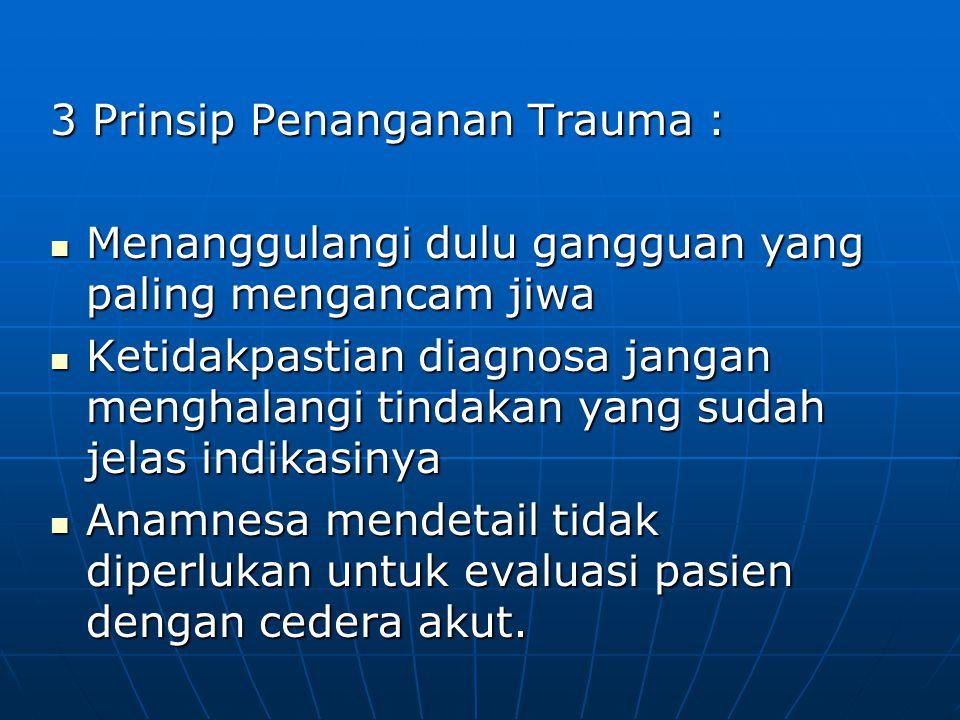 3 Prinsip Penanganan Trauma : Menanggulangi dulu gangguan yang paling mengancam jiwa Menanggulangi dulu gangguan yang paling mengancam jiwa Ketidakpas