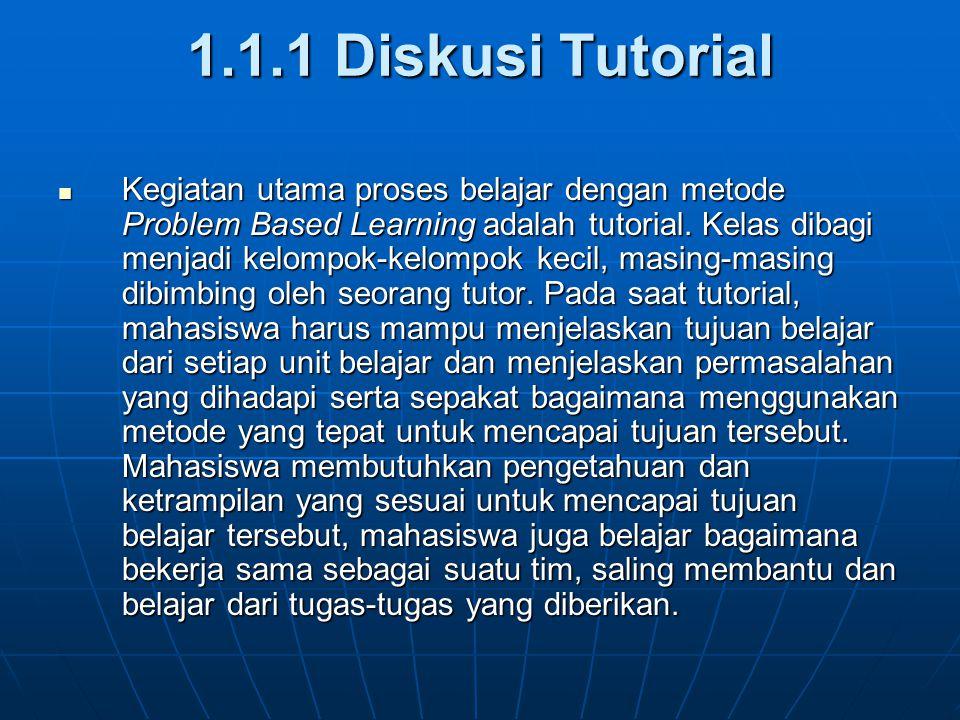 1.1.1 Diskusi Tutorial Kegiatan utama proses belajar dengan metode Problem Based Learning adalah tutorial. Kelas dibagi menjadi kelompok-kelompok keci