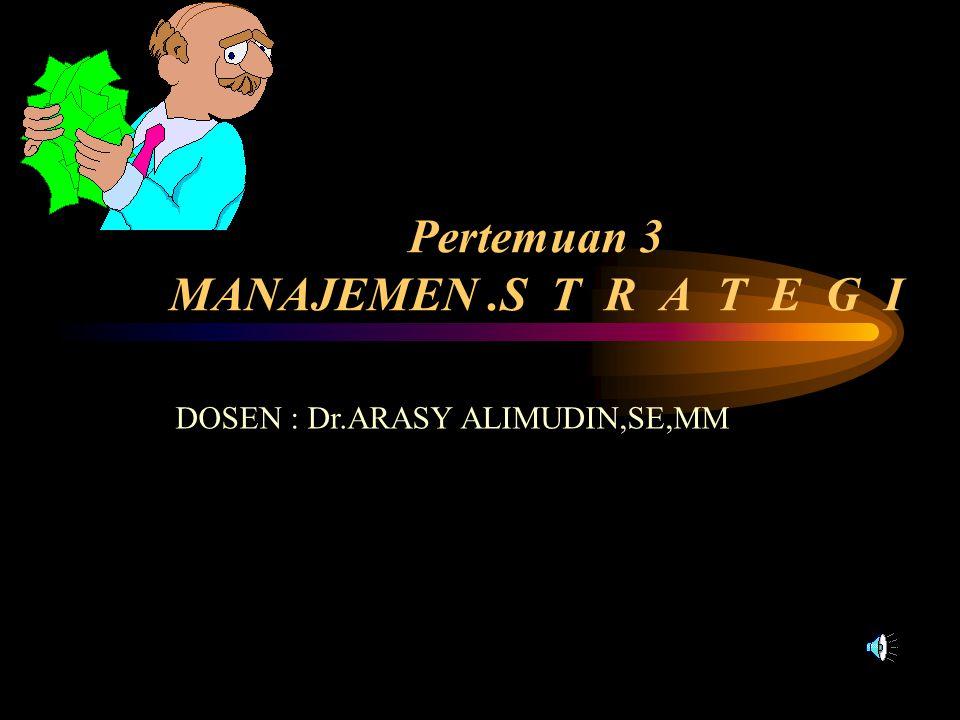Pertemuan 3 MANAJEMEN.S T R A T E G I DOSEN : Dr.ARASY ALIMUDIN,SE,MM