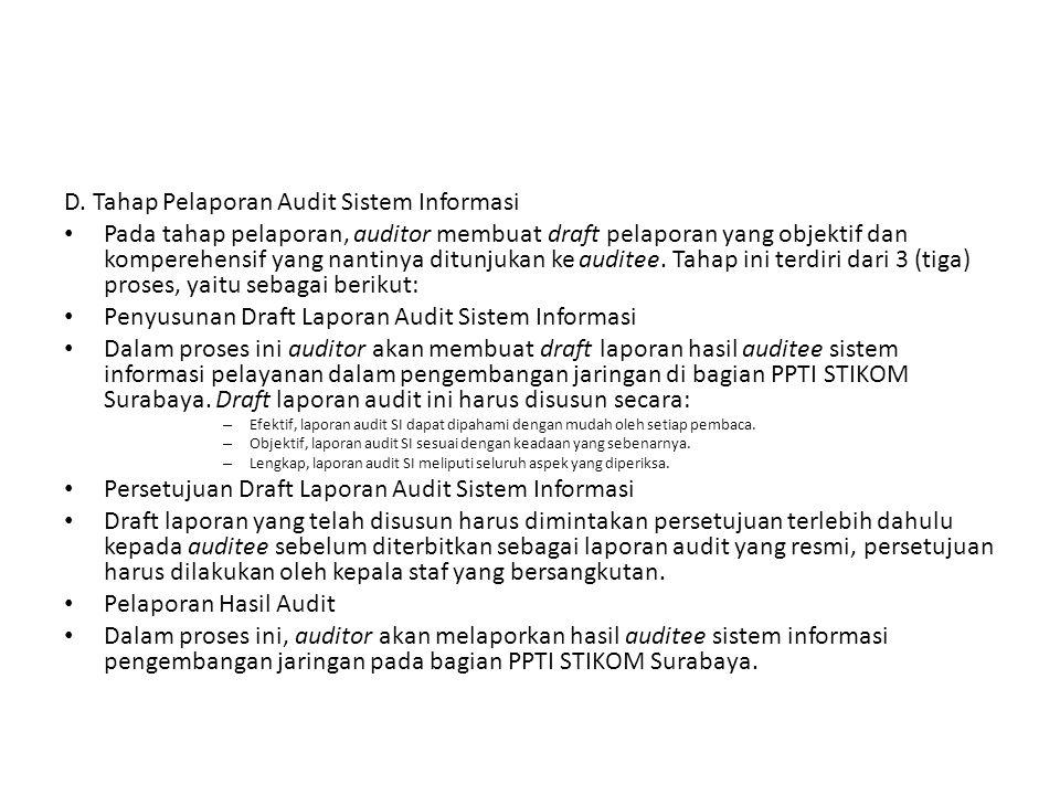 D. Tahap Pelaporan Audit Sistem Informasi Pada tahap pelaporan, auditor membuat draft pelaporan yang objektif dan komperehensif yang nantinya ditunjuk