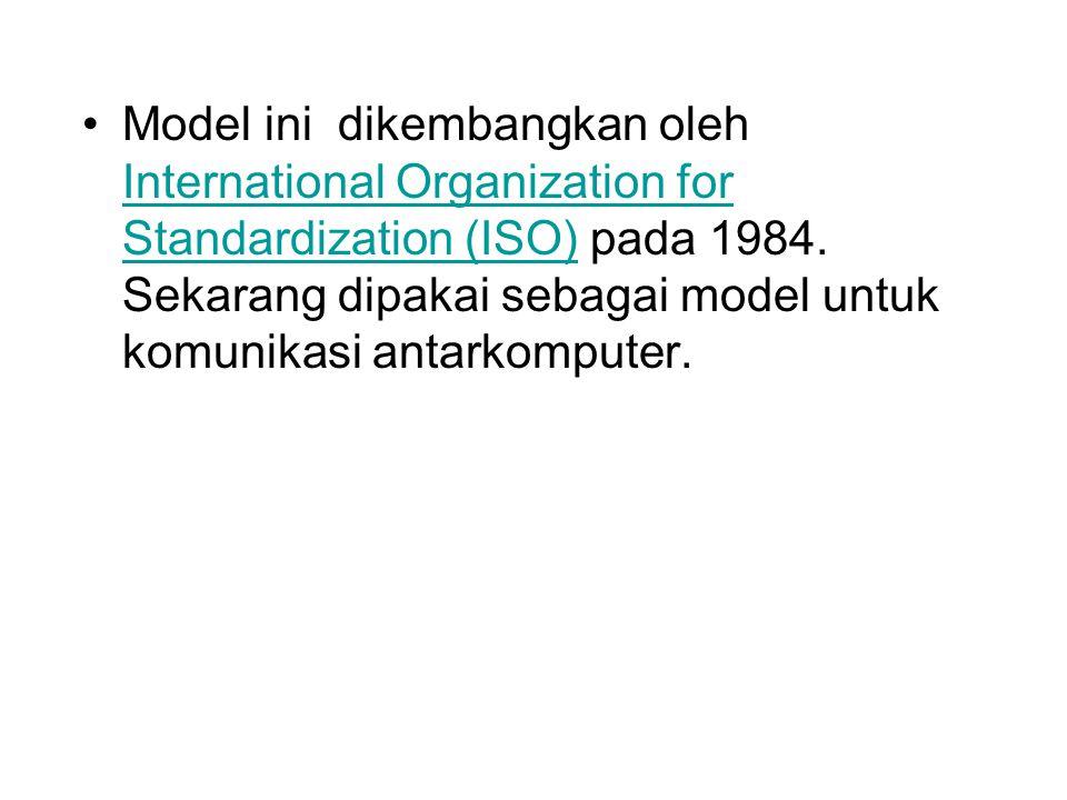 Model ini dikembangkan oleh International Organization for Standardization (ISO) pada 1984. Sekarang dipakai sebagai model untuk komunikasi antarkompu