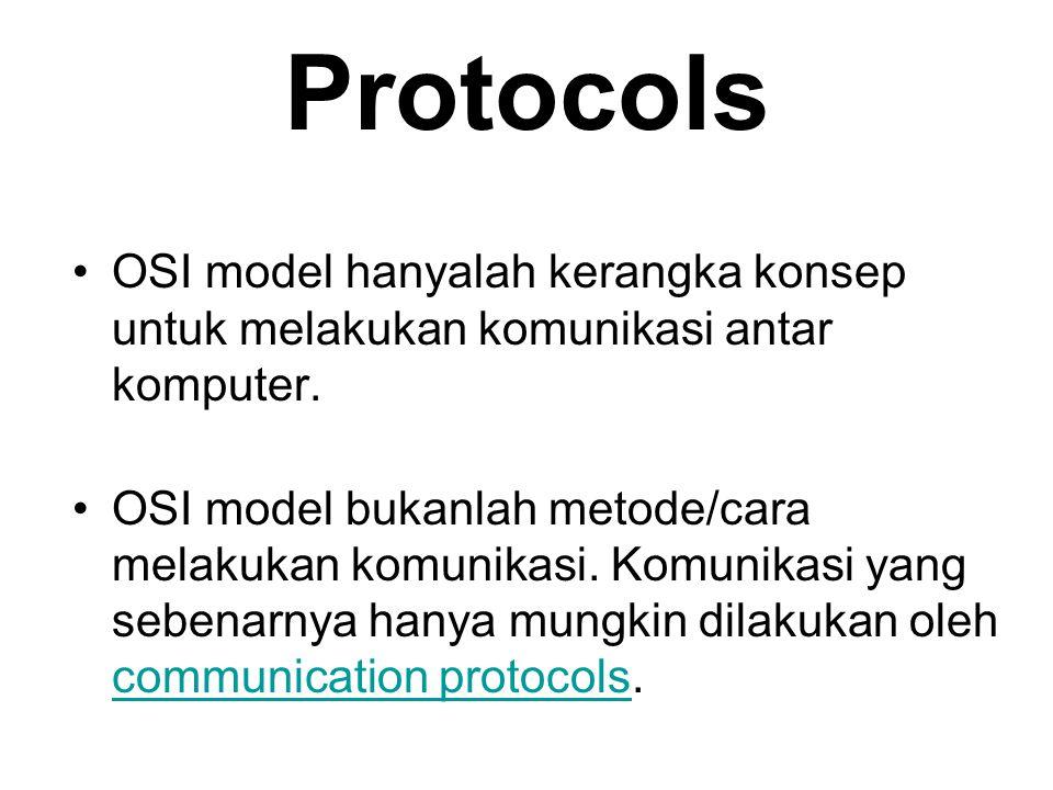 Protocols OSI model hanyalah kerangka konsep untuk melakukan komunikasi antar komputer. OSI model bukanlah metode/cara melakukan komunikasi. Komunikas