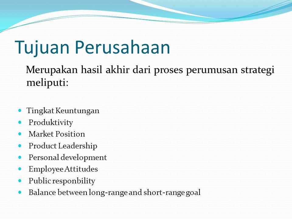 Tujuan Perusahaan Merupakan hasil akhir dari proses perumusan strategi meliputi: Tingkat Keuntungan Produktivity Market Position Product Leadership Pe