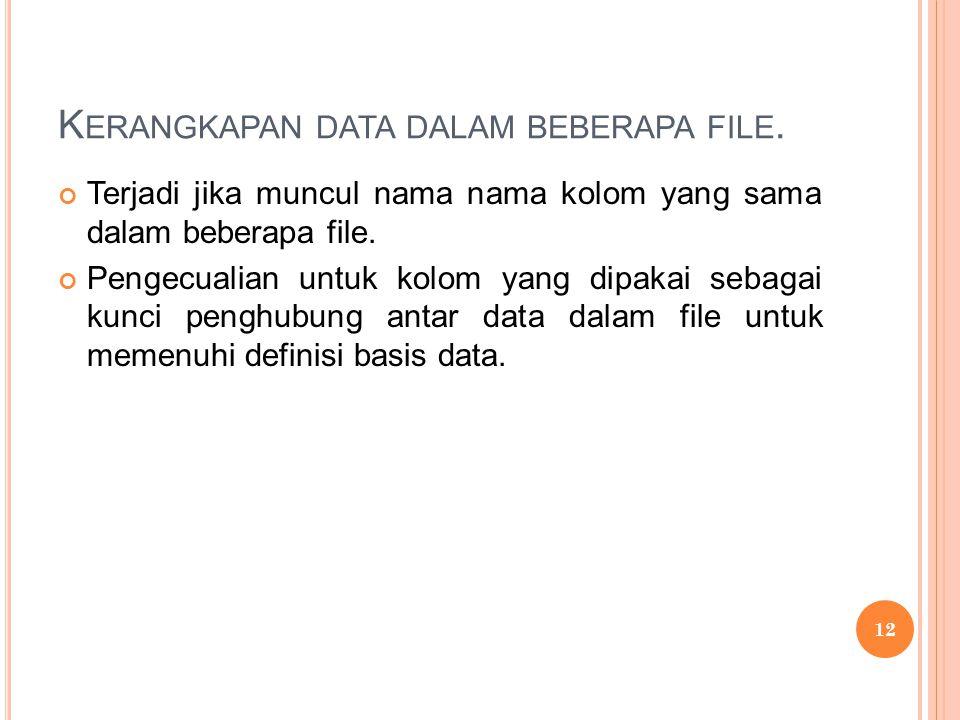 K ERANGKAPAN DATA DALAM BEBERAPA FILE. Terjadi jika muncul nama nama kolom yang sama dalam beberapa file. Pengecualian untuk kolom yang dipakai sebaga