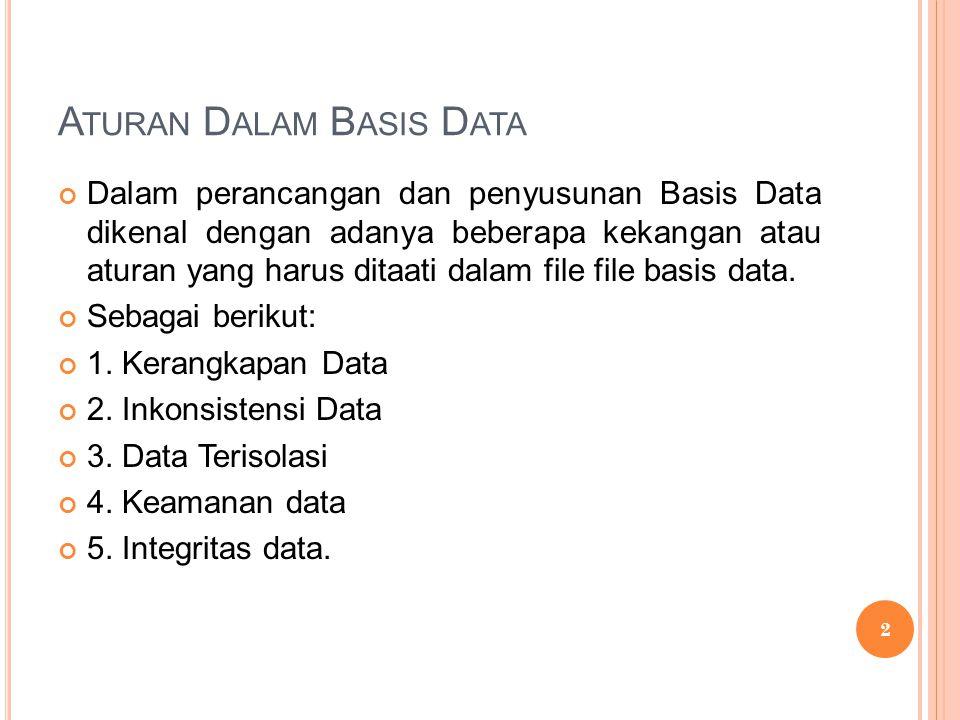 A TURAN D ALAM B ASIS D ATA Dalam perancangan dan penyusunan Basis Data dikenal dengan adanya beberapa kekangan atau aturan yang harus ditaati dalam file file basis data.