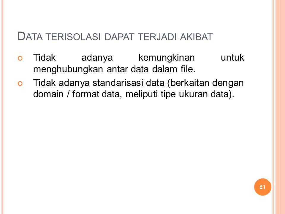 D ATA TERISOLASI DAPAT TERJADI AKIBAT Tidak adanya kemungkinan untuk menghubungkan antar data dalam file.