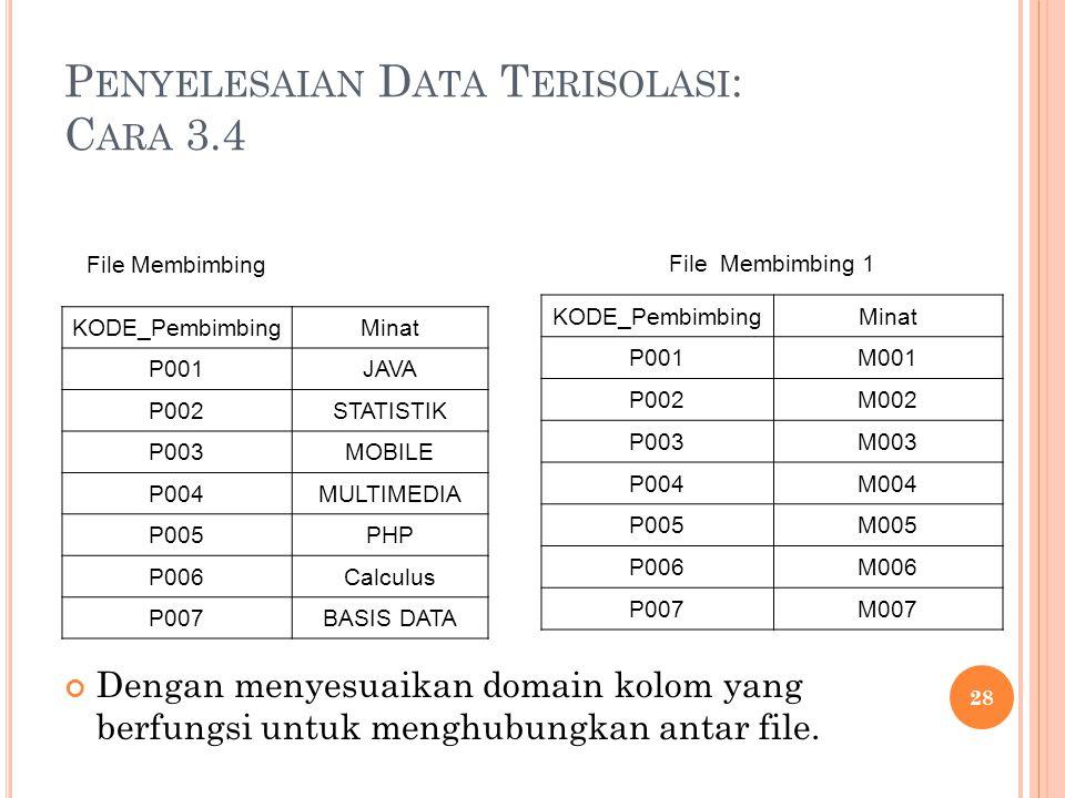 P ENYELESAIAN D ATA T ERISOLASI : C ARA 3.4 Dengan menyesuaikan domain kolom yang berfungsi untuk menghubungkan antar file. 28 File Membimbing KODE_Pe