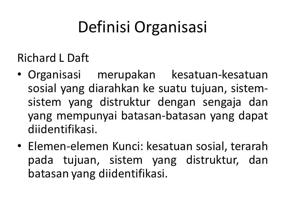 Richard L Daft Organisasi merupakan kesatuan-kesatuan sosial yang diarahkan ke suatu tujuan, sistem- sistem yang distruktur dengan sengaja dan yang me