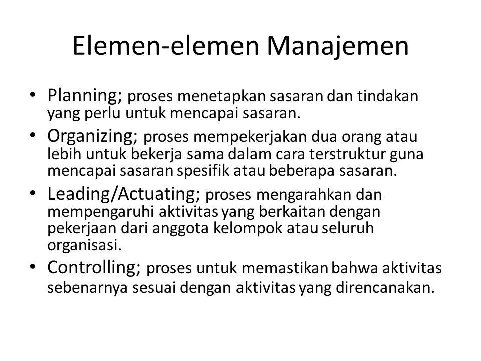 Elemen-elemen Manajemen Planning; proses menetapkan sasaran dan tindakan yang perlu untuk mencapai sasaran. Organizing; proses mempekerjakan dua orang