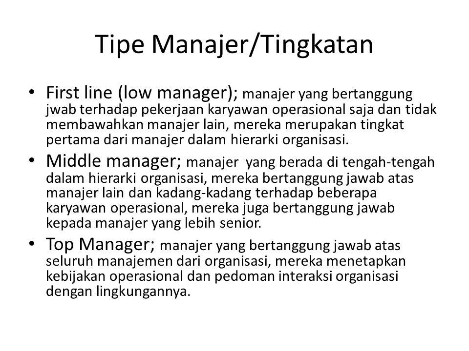 Tipe Manajer/Tingkatan First line (low manager); manajer yang bertanggung jwab terhadap pekerjaan karyawan operasional saja dan tidak membawahkan mana