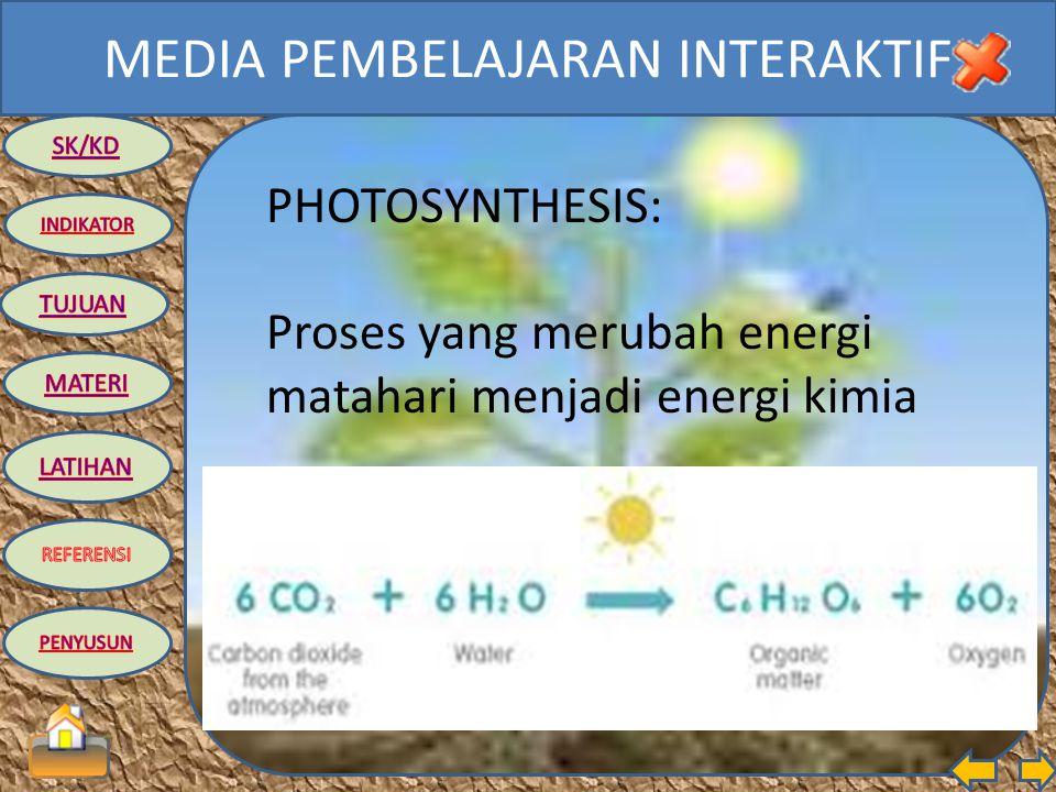 MEDIA PEMBELAJARAN INTERAKTIF TUJUAN: Siswa dapat menjelaskan proses fotosintesis secara sederhana