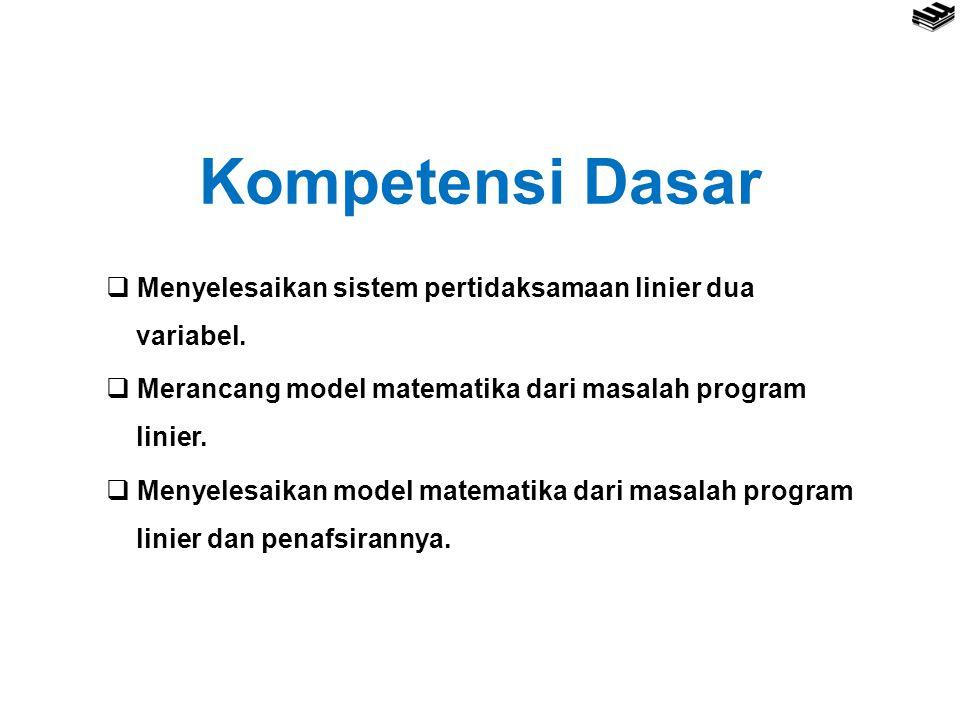 Kompetensi Dasar  Menyelesaikan sistem pertidaksamaan linier dua variabel.  Merancang model matematika dari masalah program linier.  Menyelesaikan