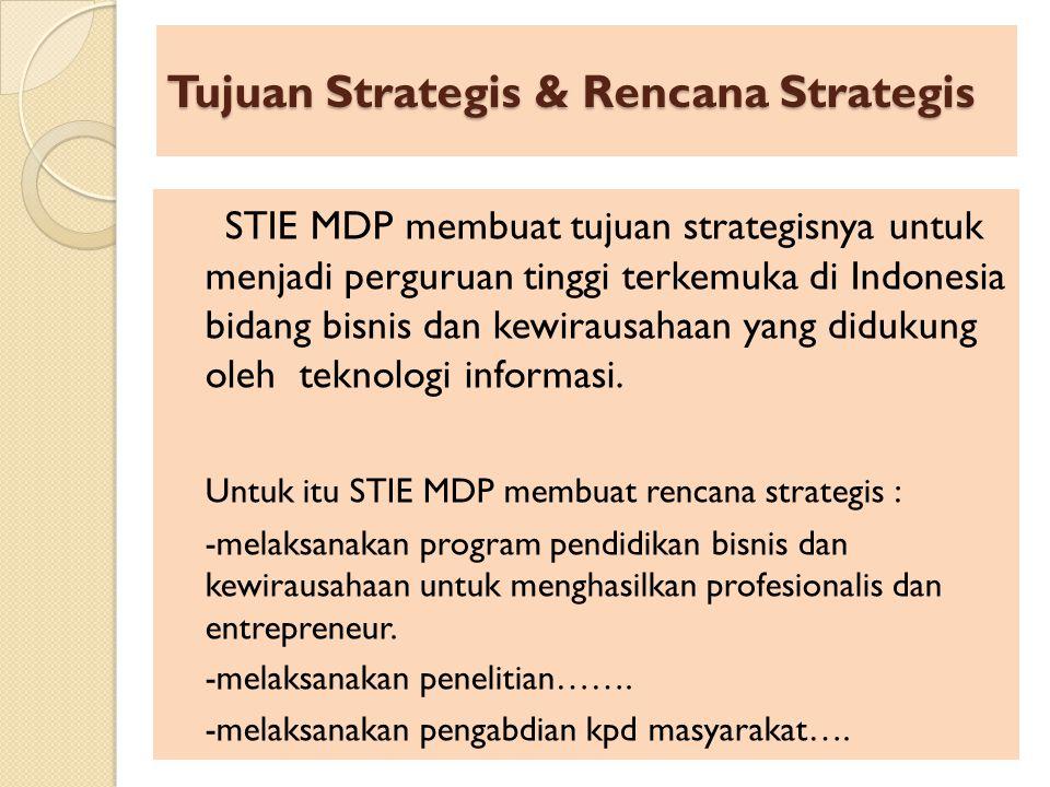 Tujuan Strategis & Rencana Strategis STIE MDP membuat tujuan strategisnya untuk menjadi perguruan tinggi terkemuka di Indonesia bidang bisnis dan kewi