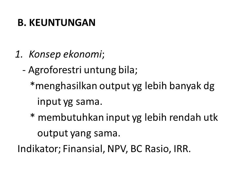 B. KEUNTUNGAN 1.Konsep ekonomi; - Agroforestri untung bila; *menghasilkan output yg lebih banyak dg input yg sama. * membutuhkan input yg lebih rendah
