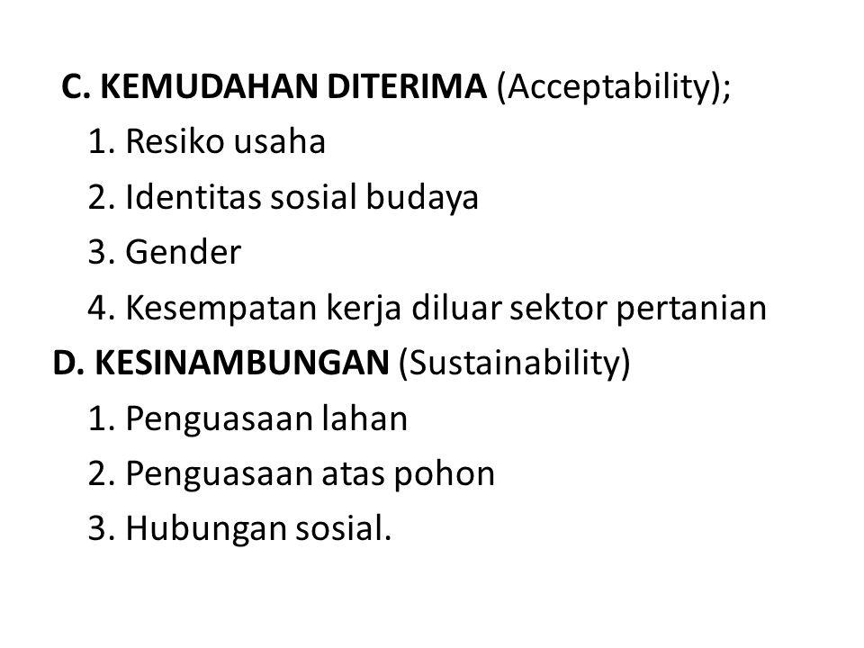 C. KEMUDAHAN DITERIMA (Acceptability); 1. Resiko usaha 2. Identitas sosial budaya 3. Gender 4. Kesempatan kerja diluar sektor pertanian D. KESINAMBUNG