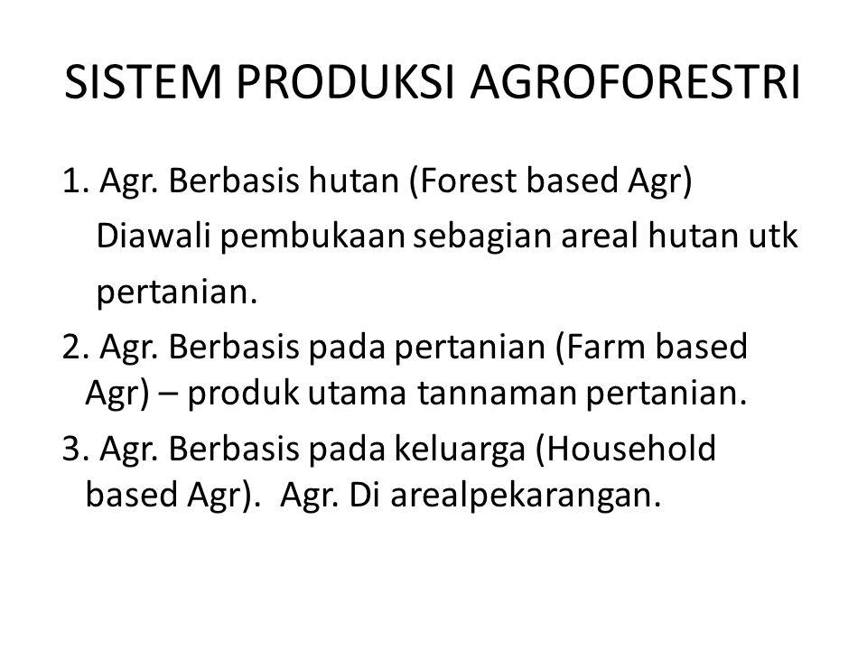 SISTEM PRODUKSI AGROFORESTRI 1. Agr. Berbasis hutan (Forest based Agr) Diawali pembukaan sebagian areal hutan utk pertanian. 2. Agr. Berbasis pada per