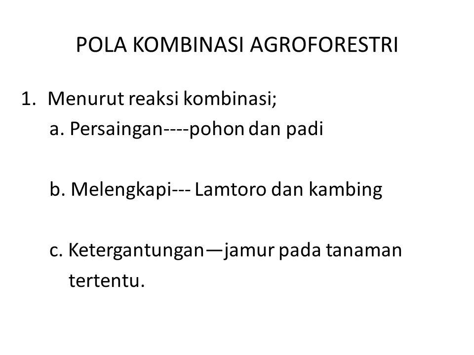POLA KOMBINASI AGROFORESTRI 1.Menurut reaksi kombinasi; a. Persaingan----pohon dan padi b. Melengkapi--- Lamtoro dan kambing c. Ketergantungan—jamur p