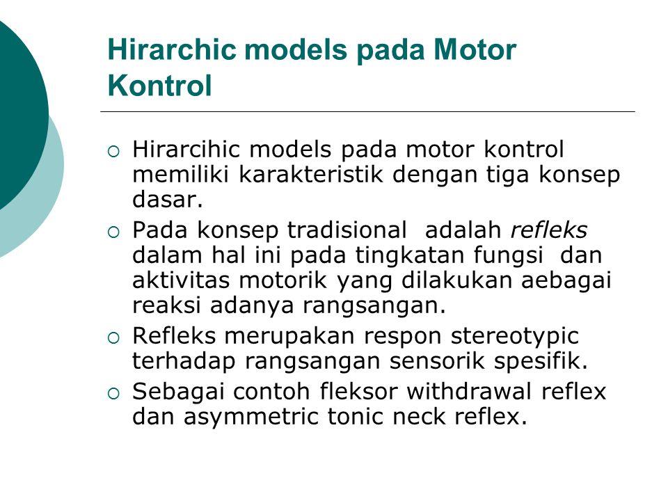 Hirarchic models pada Motor Kontrol  Hirarcihic models pada motor kontrol memiliki karakteristik dengan tiga konsep dasar.  Pada konsep tradisional