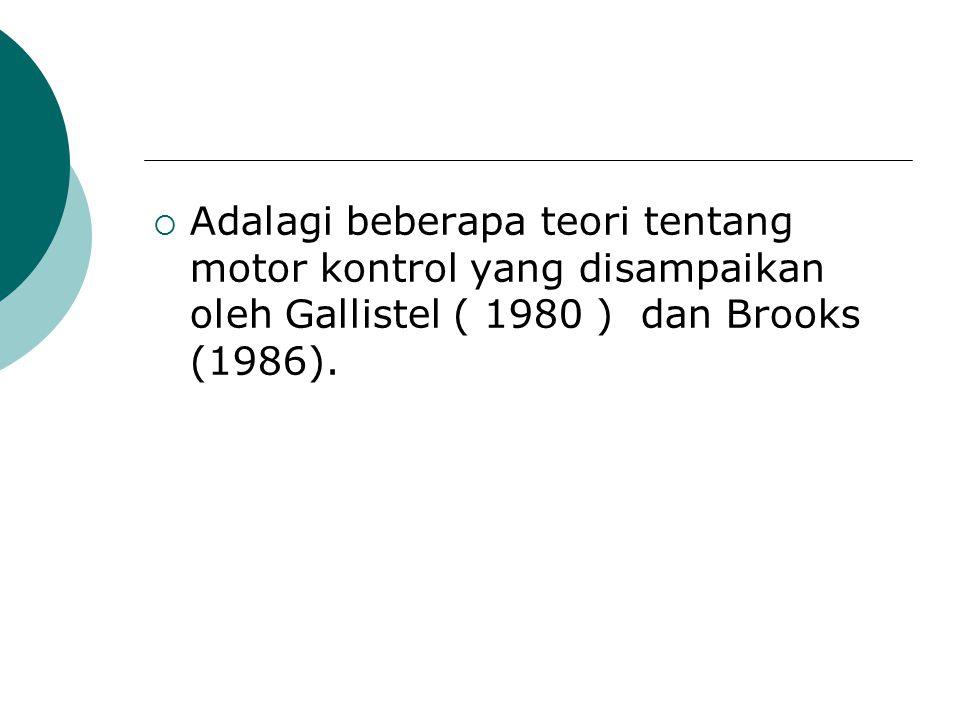  Adalagi beberapa teori tentang motor kontrol yang disampaikan oleh Gallistel ( 1980 ) dan Brooks (1986).