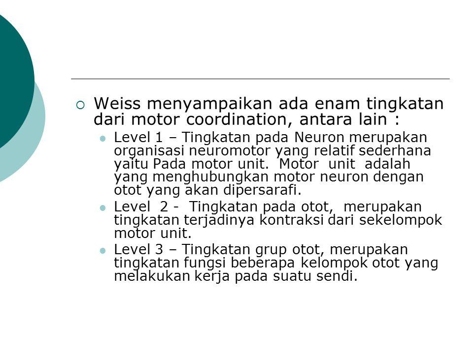  Weiss menyampaikan ada enam tingkatan dari motor coordination, antara lain : Level 1 – Tingkatan pada Neuron merupakan organisasi neuromotor yang re
