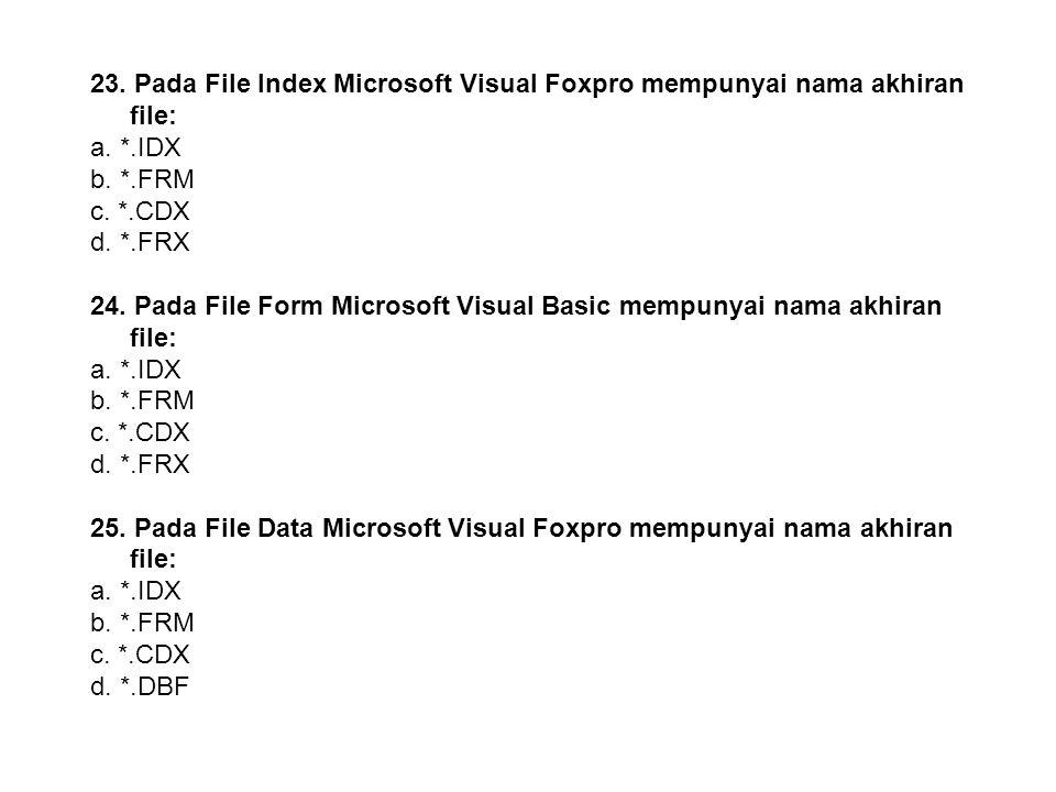 22. Pada File Katalog Microsoft Visual Foxpro mempunyai nama akhiran file: a. *.IDX b. *.FRM c. *.CDX d. *.FRX 23. Pada File Index Microsoft Visual Fo