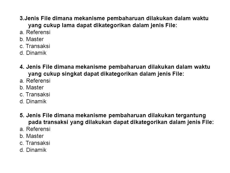 3.Jenis File dimana mekanisme pembaharuan dilakukan dalam waktu yang cukup lama dapat dikategorikan dalam jenis File: a.