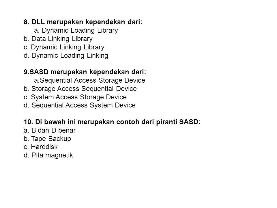 8.DLL merupakan kependekan dari: a. Dynamic Loading Library b.