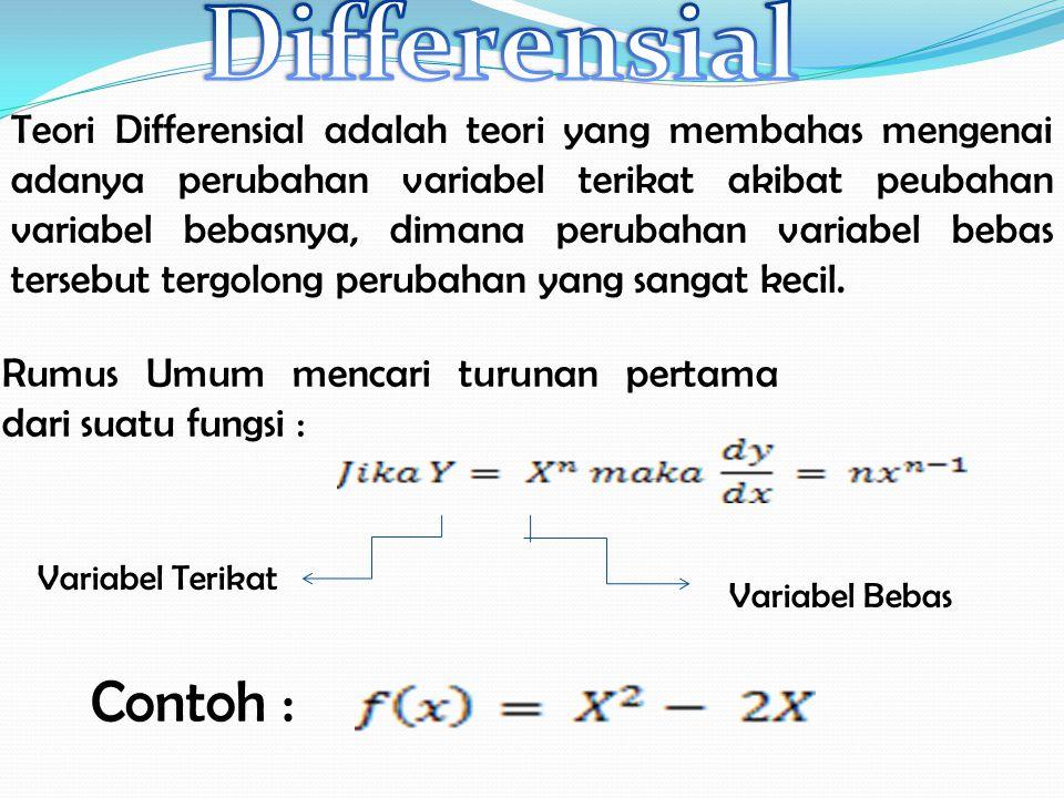Teori Differensial adalah teori yang membahas mengenai adanya perubahan variabel terikat akibat peubahan variabel bebasnya, dimana perubahan variabel