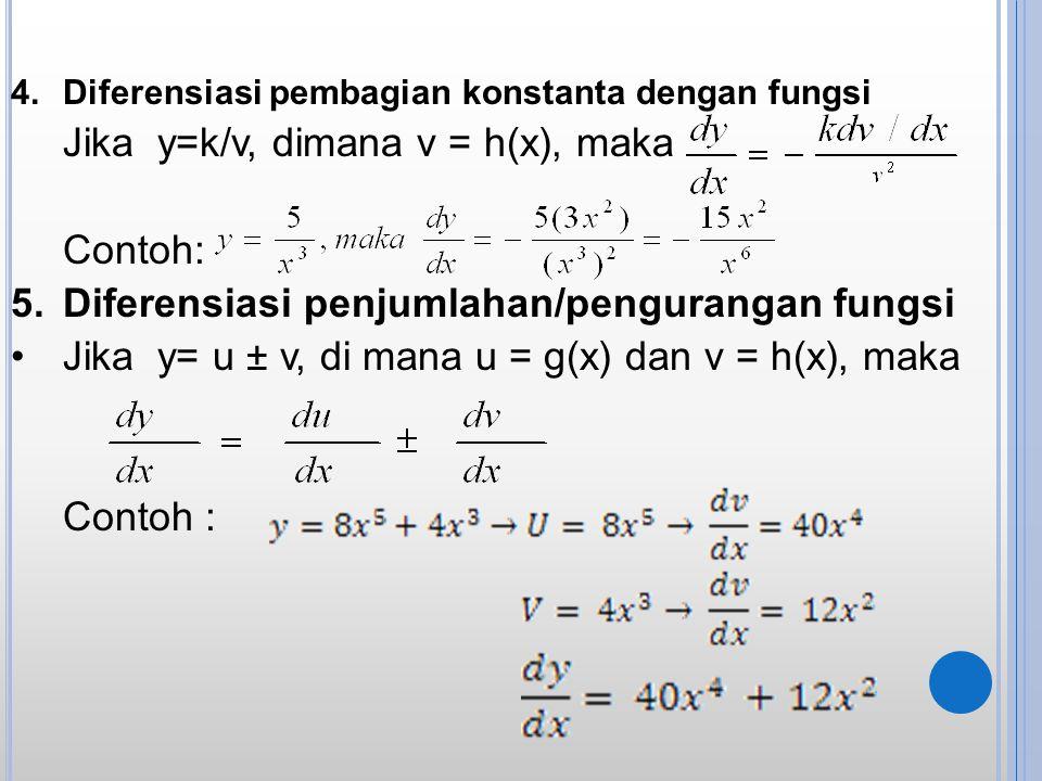 4.Diferensiasi pembagian konstanta dengan fungsi Jika y=k/v, dimana v = h(x), maka Contoh: 5.Diferensiasi penjumlahan/pengurangan fungsi Jika y= u ± v
