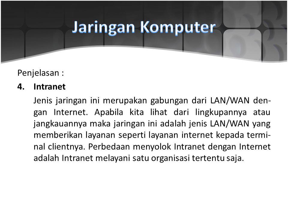 Penjelasan : 4.Intranet Jenis jaringan ini merupakan gabungan dari LAN/WAN den gan Internet. Apabila kita lihat dari lingkupannya atau jangkaua