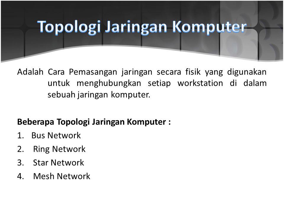 Adalah Cara Pemasangan jaringan secara fisik yang digunakan untuk menghubungkan setiap workstation di dalam sebuah jaringan komputer. Beberapa Topolog