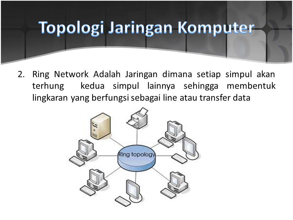 2.Ring Network Adalah Jaringan dimana setiap simpul akan terhung kedua simpul lainnya sehingga membentuk lingkaran yang berfungsi sebagai line atau tr