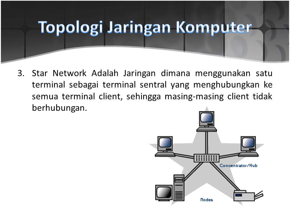 3.Star Network Adalah Jaringan dimana menggunakan satu terminal sebagai terminal sentral yang menghubungkan ke semua terminal client, sehingga masing-