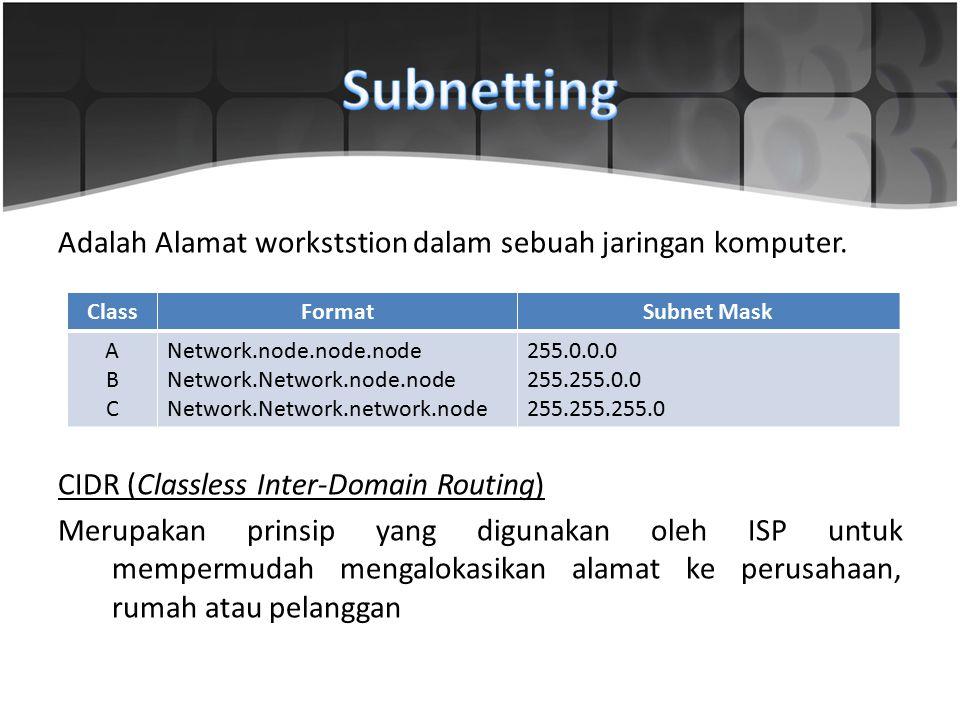 Adalah Alamat workststion dalam sebuah jaringan komputer. CIDR (Classless Inter-Domain Routing) Merupakan prinsip yang digunakan oleh ISP untuk memper