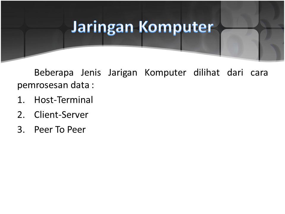 Beberapa Jenis Jarigan Komputer dilihat dari cara pemrosesan data : 1.Host-Terminal 2.Client-Server 3.Peer To Peer