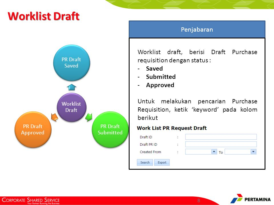 8 Worklist Draft PR Draft Saved PR Draft Submitted PR Draft Approved Penjabaran Worklist draft, berisi Draft Purchase requisition dengan status : -Saved -Submitted -Approved Untuk melakukan pencarian Purchase Requisition, ketik 'keyword' pada kolom berikut