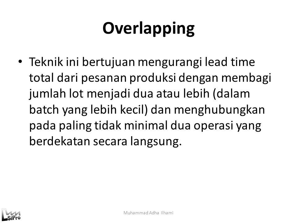 Overlapping Teknik ini bertujuan mengurangi lead time total dari pesanan produksi dengan membagi jumlah lot menjadi dua atau lebih (dalam batch yang l