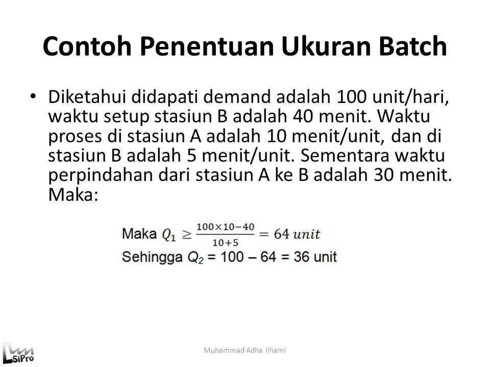Contoh Penentuan Ukuran Batch Diketahui didapati demand adalah 100 unit/hari, waktu setup stasiun B adalah 40 menit. Waktu proses di stasiun A adalah