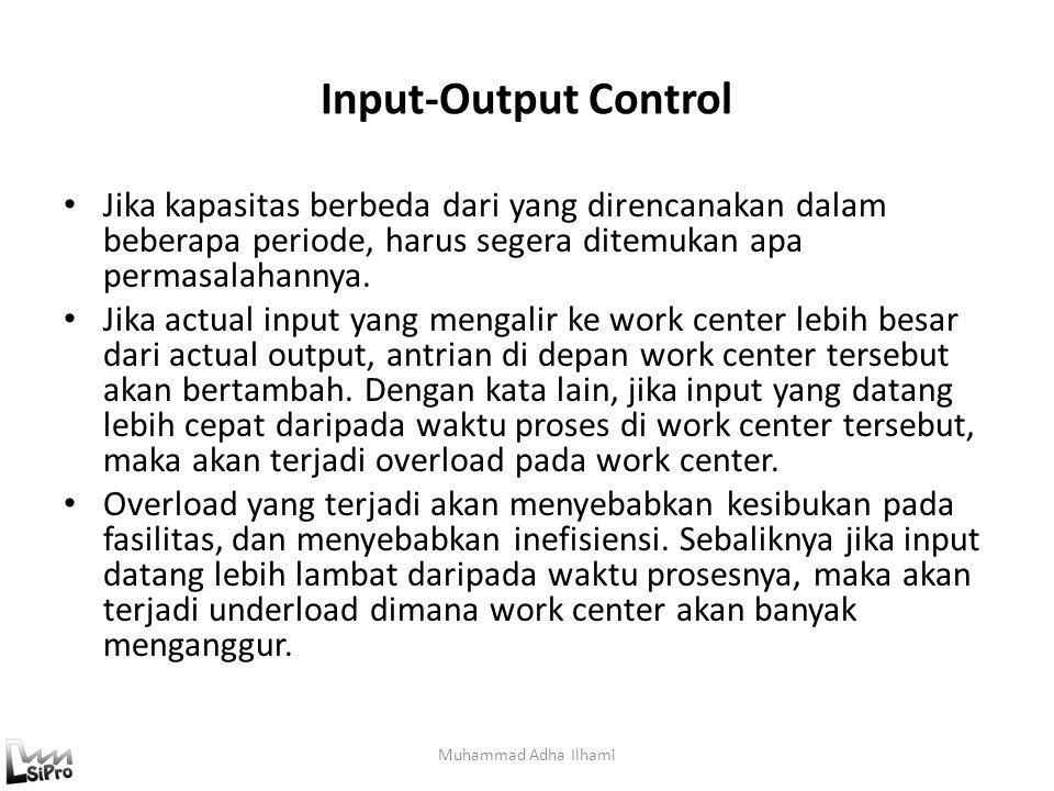 Input-Output Control Jika kapasitas berbeda dari yang direncanakan dalam beberapa periode, harus segera ditemukan apa permasalahannya. Jika actual inp