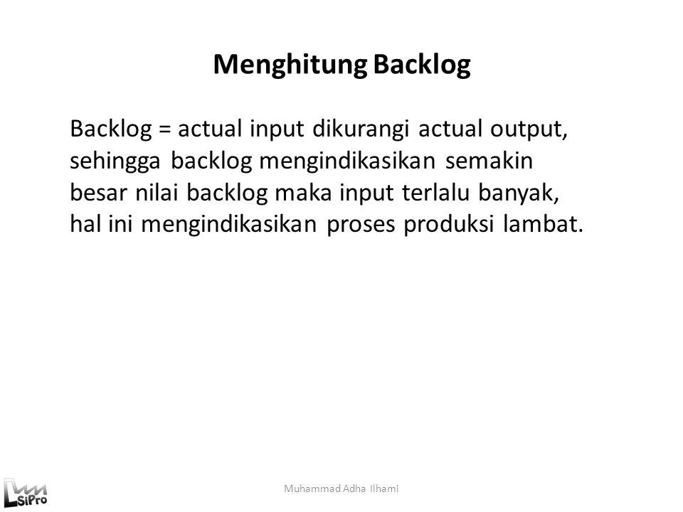 Menghitung Backlog Muhammad Adha Ilhami Backlog = actual input dikurangi actual output, sehingga backlog mengindikasikan semakin besar nilai backlog m