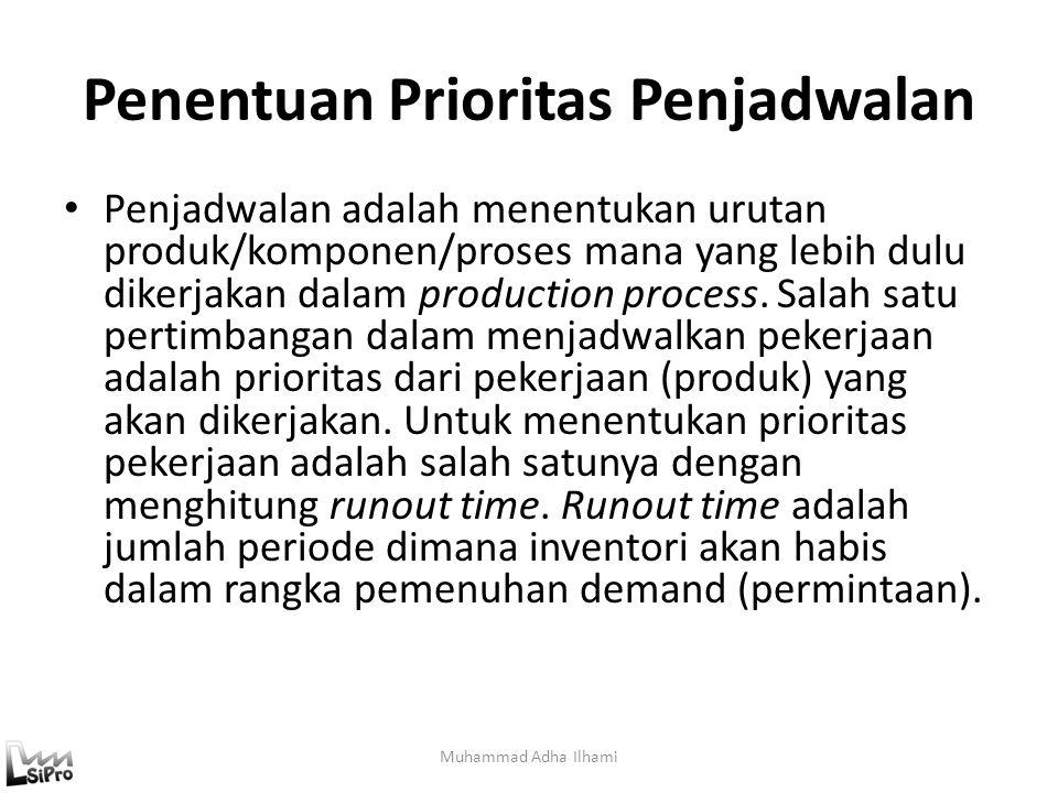 I/O Control Proses Tunggal Jika proses produksi hanya melibatkan satu proses tunggal (satu work center) maka perhitungan WIP yang ada di dalam lantai produksi dapat dihitung dengan cara sebagai berikut: ICD i = ICD i-1 – PI i + AI i OCD i =OCD i-1 – PO i + AO i PWIP i = PWIP i-1 + PI i – PO i AWIP i = AWIP i-1 + AI i – AO i Dimana: PI i : Planned Inventory periode i AI i : Actual Inventory periode i ICD i : Inventory Cumulative Deviation periode i PO i : Planned Output periode i AO i : Actual Output periode i OCD i : Output Cumulative Deviation periode i PWIP i : Planned Work in Process periode i AWIP i : Actual Work in Process Periode i Muhammad Adha Ilhami