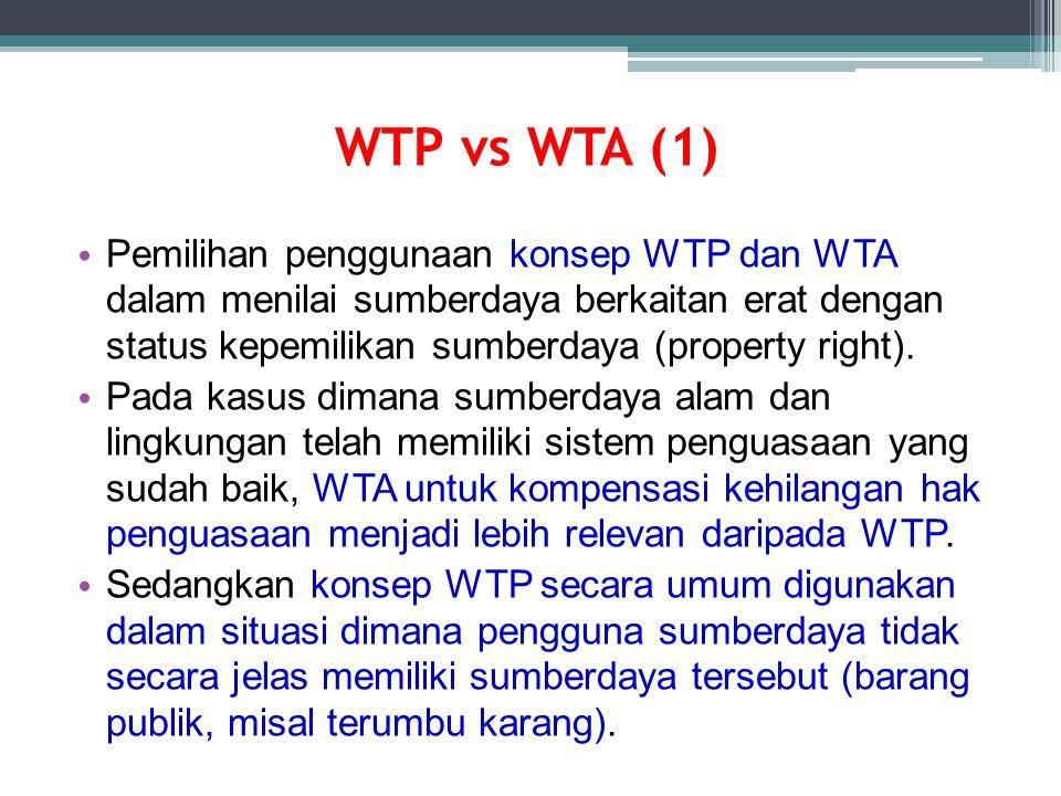 WTP vs WTA (1) Pemilihan penggunaan konsep WTP dan WTA dalam menilai sumberdaya berkaitan erat dengan status kepemilikan sumberdaya (property right).