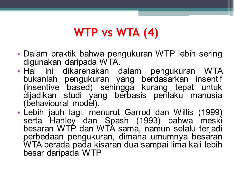 WTP vs WTA (4) Dalam praktik bahwa pengukuran WTP lebih sering digunakan daripada WTA. Hal ini dikarenakan dalam pengukuran WTA bukanlah pengukuran ya