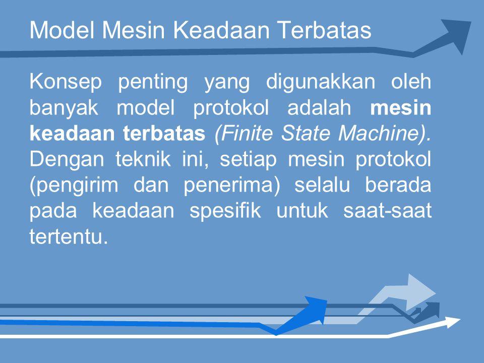 Model Mesin Keadaan Terbatas Konsep penting yang digunakkan oleh banyak model protokol adalah mesin keadaan terbatas (Finite State Machine).