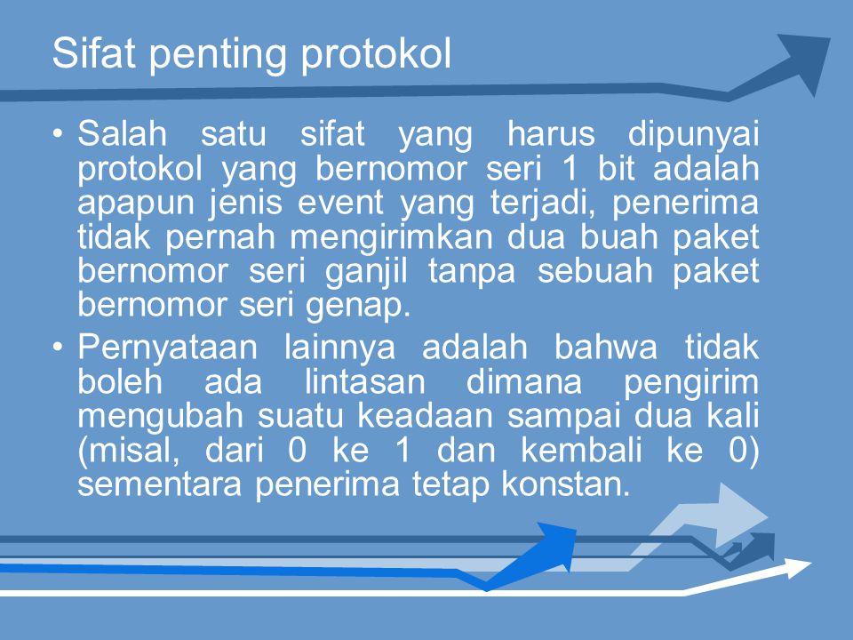 Sifat penting protokol Salah satu sifat yang harus dipunyai protokol yang bernomor seri 1 bit adalah apapun jenis event yang terjadi, penerima tidak pernah mengirimkan dua buah paket bernomor seri ganjil tanpa sebuah paket bernomor seri genap.